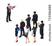 isometric businessman with... | Shutterstock .eps vector #753586888