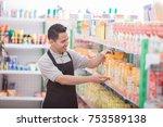 asian male shopkeeper working... | Shutterstock . vector #753589138