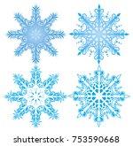 vector graceful snowflakes for... | Shutterstock .eps vector #753590668
