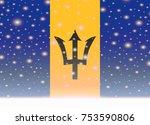 barbados flag on christmas... | Shutterstock .eps vector #753590806