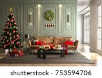 christmas party in living room... | Shutterstock . vector #753594706