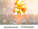 christmas table background with ... | Shutterstock . vector #753595669