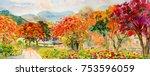 Autumn Trees. Painting...