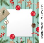 christmas poster template with... | Shutterstock .eps vector #753599644