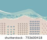 aerial view of sea beach with... | Shutterstock .eps vector #753600418