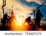 silhouette construction worker...   Shutterstock . vector #753607174