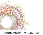 abstract circle orange green... | Shutterstock .eps vector #753607810