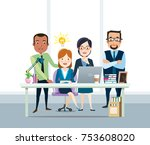 businessman and woman working... | Shutterstock .eps vector #753608020