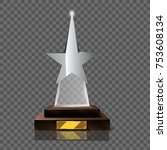 empty realistic glass trophy... | Shutterstock .eps vector #753608134