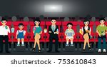 families are sitting in the... | Shutterstock .eps vector #753610843