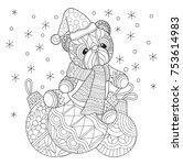 teddy bear and christmas ball.... | Shutterstock .eps vector #753614983