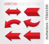 set of red arrow vector | Shutterstock .eps vector #753621334
