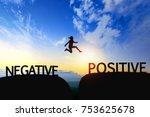 woman jump through the gap...   Shutterstock . vector #753625678