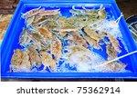 sea crab in seafood market - stock photo