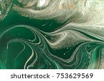 marbled green abstract... | Shutterstock . vector #753629569
