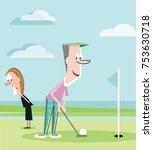 golf widow ignored by husband | Shutterstock .eps vector #753630718