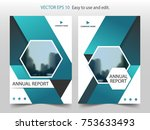 blue hexagon brochure flyer... | Shutterstock .eps vector #753633493