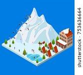 ski resort concept 3d isometric ... | Shutterstock .eps vector #753636664