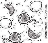 lemon background. vector black...   Shutterstock .eps vector #753644806