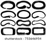 set of brush stroke ellipses. | Shutterstock .eps vector #753646954