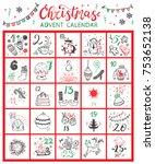 christmas advent calendar.... | Shutterstock .eps vector #753652138
