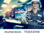 double exposure of engineer or... | Shutterstock . vector #753653548