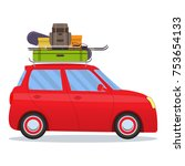 cute small car with ski and... | Shutterstock .eps vector #753654133