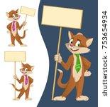 funny cartoon cat in a tie...   Shutterstock .eps vector #753654934