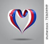 slovak flag heart shaped wavy... | Shutterstock .eps vector #753654949