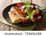 delicious fried hake with fresh ... | Shutterstock . vector #753656188