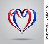 croatian flag heart shaped wavy ... | Shutterstock .eps vector #753657154