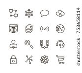 seo icon set. collection of... | Shutterstock .eps vector #753658114