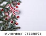 christmas background with fir... | Shutterstock . vector #753658936