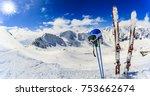 Ski In Winter Season  Mountain...