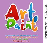 bright logo with text art paint.... | Shutterstock .eps vector #753663058