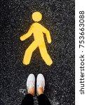 the pedestrian walking on sign  ...   Shutterstock . vector #753663088