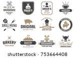 restaurant retro vector logo... | Shutterstock .eps vector #753664408