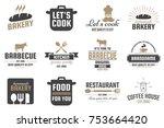 restaurant retro vector logo... | Shutterstock .eps vector #753664420