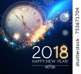 happy new 2018 year background... | Shutterstock .eps vector #753671704