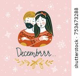 winter card with hand lettered... | Shutterstock .eps vector #753673288