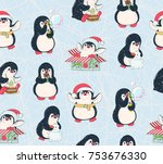 seamless pattern with cute...   Shutterstock .eps vector #753676330