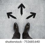 top view of businessman feet on ...   Shutterstock . vector #753681640