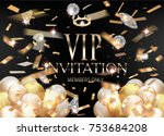 vip invitation card with gold... | Shutterstock .eps vector #753684208