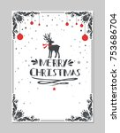 merry christmas greeting poster ... | Shutterstock .eps vector #753686704