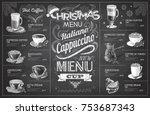 vintage chalk drawing christmas ...   Shutterstock .eps vector #753687343