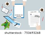 top view of the office desk... | Shutterstock .eps vector #753693268