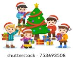 happy new year and merry... | Shutterstock .eps vector #753693508