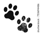 dog paw print usual and with... | Shutterstock .eps vector #753694486