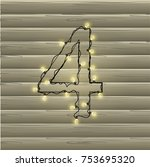 number from the christmas light ... | Shutterstock .eps vector #753695320