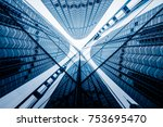 low angle view of skyscrapers... | Shutterstock . vector #753695470